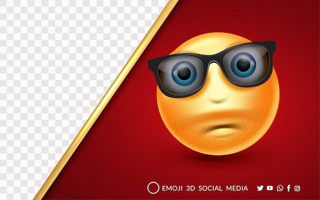 Expressão de emoji maravilhada usando óculos escuros