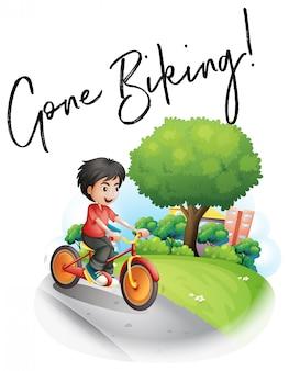 Expressão de palavra para andar de bicicleta com menino em bicicleta