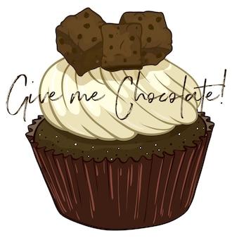Expressão de palavras para dar-me chocolate com bolinho no fundo