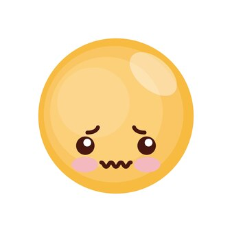 Expressão de rosto kawaii isolado