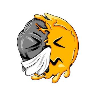 Expressão de rosto pálido com espirros e ranho no rosto muda para emoticon de caveira escura
