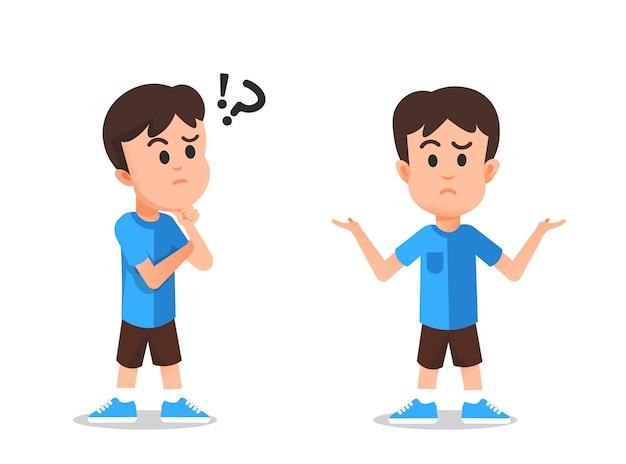 Expressão de uma criança que estava pensando e se sentindo confusa