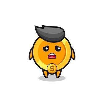 Expressão decepcionada do desenho animado da moeda de um dólar, design de estilo fofo para camiseta, adesivo, elemento de logotipo