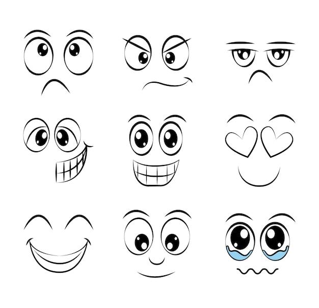 Expressão divertida design facial