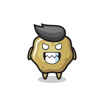 Expressão do mal do personagem mascote fofinho de fezes soltas, design de estilo fofo para camiseta, adesivo, elemento de logotipo