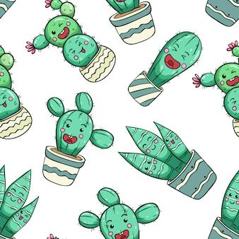 Expressão engraçada de cacto com cara de kawaii usando padrão sem emenda de estilo doodle