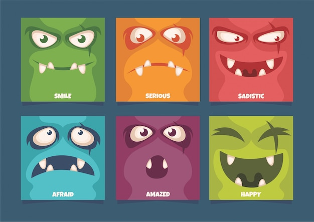 Expressão facial de monstro