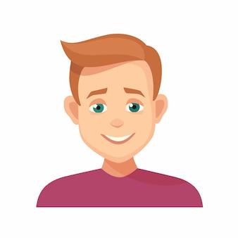 Expressão facial de sorriso do menino do avatar. ícone isolado de fundo branco