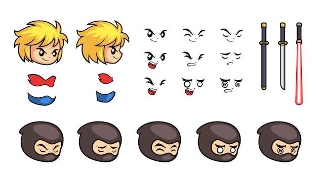 Expressão facial diversa game sprites