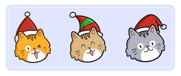 Expressão fofa e engraçada de três gatos kawaii usando chapéu de papai noel no natal