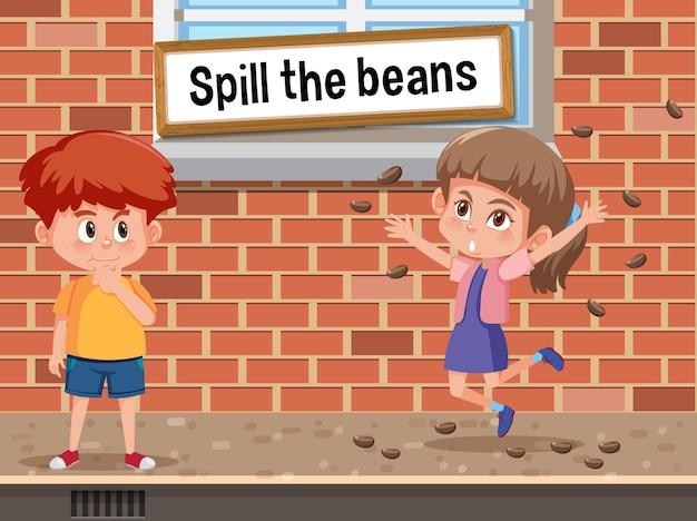 Expressão idiomática em inglês com descrição de imagem para spill the beans