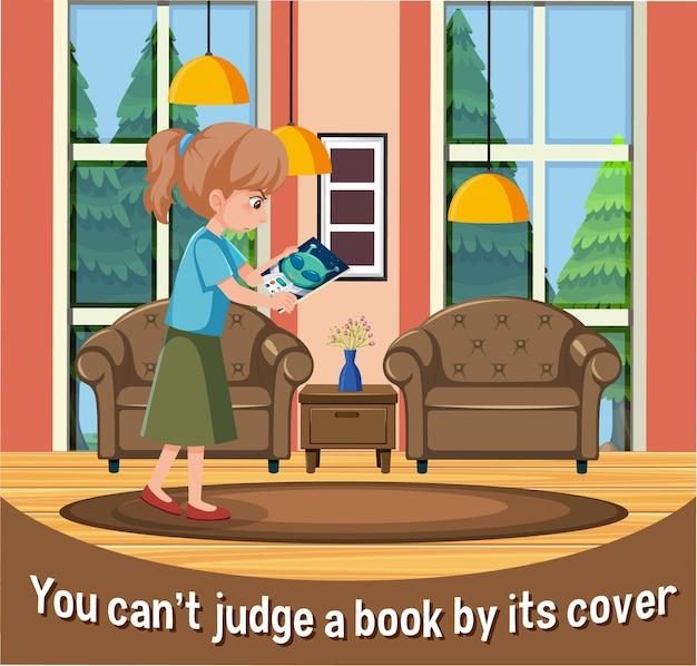 Expressão idiomática em inglês com descrição de imagem, pois você não pode julgar um livro pela capa