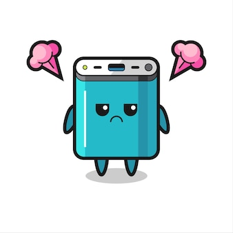 Expressão irritada do personagem de desenho animado bonito do banco de potência, design de estilo fofo para camiseta, adesivo, elemento de logotipo
