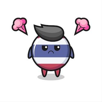 Expressão irritada do personagem de desenho animado bonito do emblema da bandeira da tailândia, design de estilo fofo para camiseta, adesivo, elemento de logotipo