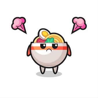 Expressão irritada do personagem de desenho animado bonito tigela de macarrão, design de estilo bonito para camiseta, adesivo, elemento de logotipo