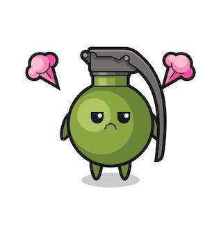 Expressão irritada do personagem de desenho animado de granada fofa, design de estilo fofo para camiseta, adesivo, elemento de logotipo