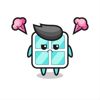 Expressão irritada do personagem de desenho animado de janela fofa, design de estilo fofo para camiseta, adesivo, elemento de logotipo