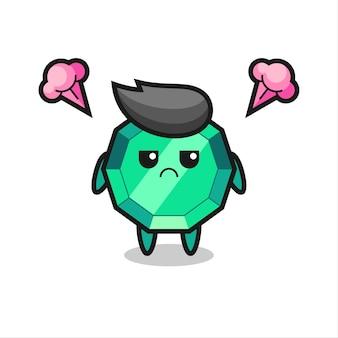 Expressão irritada do personagem de desenho animado de pedra esmeralda fofa, design de estilo fofo para camiseta, adesivo, elemento de logotipo