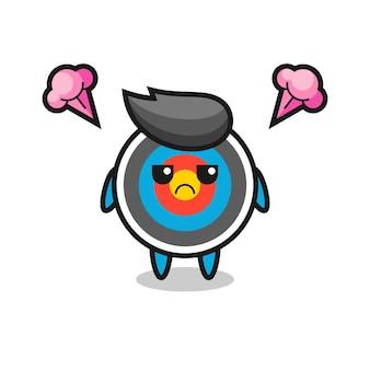 Expressão irritada do personagem de desenho animado de tiro com arco alvo fofo, design de estilo fofo para camiseta, adesivo, elemento de logotipo