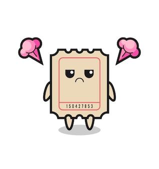 Expressão irritada do personagem de desenho animado do bilhete fofo, design de estilo fofo para camiseta, adesivo, elemento de logotipo