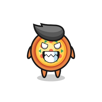 Expressão má do personagem mascote fofo da pizza, design de estilo fofo para camiseta, adesivo, elemento de logotipo