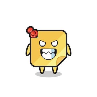 Expressão maligna do personagem mascote fofinho das notas adesivas, design de estilo fofo para camiseta, adesivo, elemento de logotipo