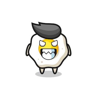 Expressão maligna do personagem mascote fofinho de ovo frito, design de estilo fofo para camiseta, adesivo, elemento de logotipo