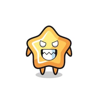 Expressão maligna do personagem mascote fofo da estrela, design de estilo fofo para camiseta, adesivo, elemento de logotipo