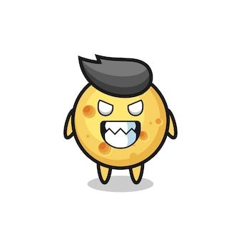 Expressão maligna do personagem mascote fofo de queijo redondo, design de estilo fofo para camiseta, adesivo, elemento de logotipo