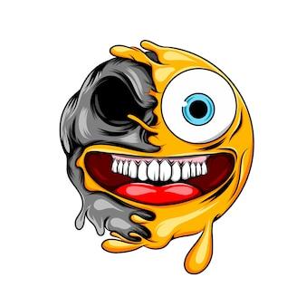 Expressão maluca com emoticon de boca grande até a morte