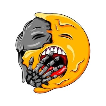 Expressão sonolenta muda para rosto preto com emoticon de caveira