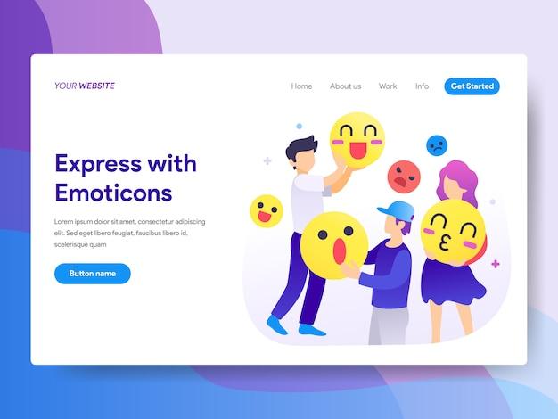 Expresse com emoticons ilustração na página inicial