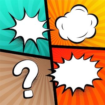 Expressões de bolhas de bate-papo definidas no estilo de quadrinhos