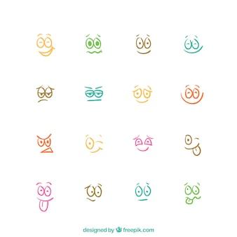 Expressões de desenhos animados esboçado