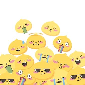 Expressões de emoji de mídia social enfrenta coleção de desenhos animados