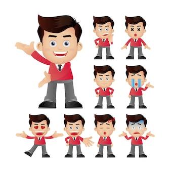 Expressões de empresários com rostos diferentes