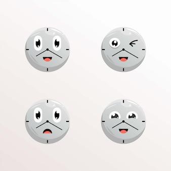 Expressões de mascote de relógio