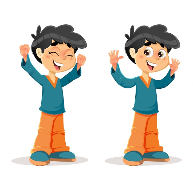 Expressões de menino jovem vitorioso feliz