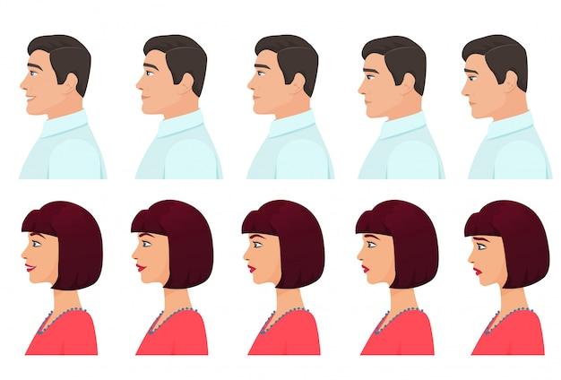Expressões de perfil masculino e feminino