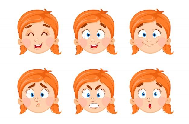 Expressões de rosto de menina bonitinha