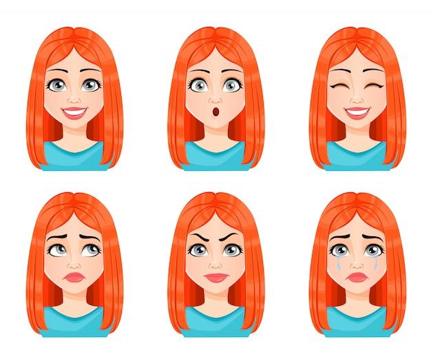 Expressões de rosto de mulher ruiva linda