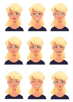 Expressões de rosto de uma mulher loira