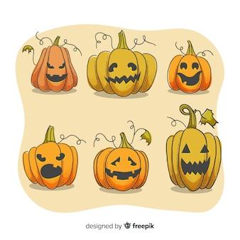 Expressões de rosto na coleção de abóbora de halloween