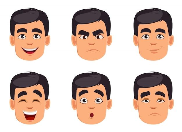Expressões faciais. conjunto de emoções masculinas diferentes