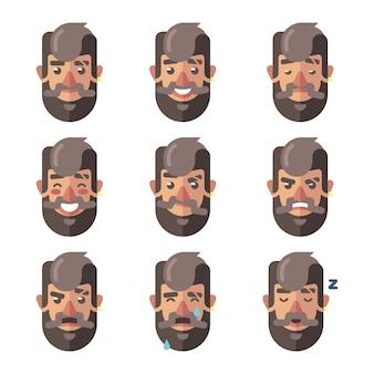Expressões faciais de homem hippie barbudo