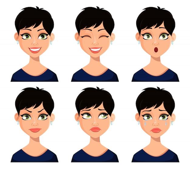 Expressões faciais de mulher bonita