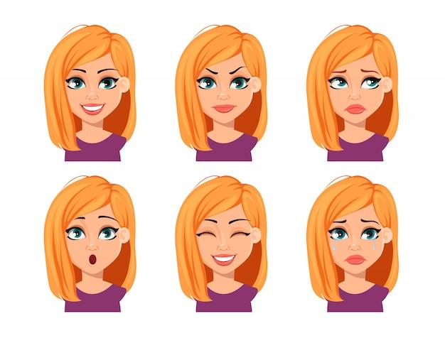 Expressões faciais de mulher com cabelo loiro
