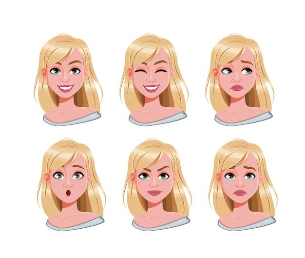 Expressões faciais de mulher loira bonita