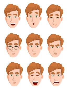 Expressões faciais de um homem