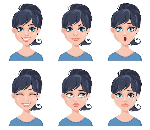 Expressões faciais de uma mulher bonita
